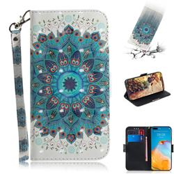 Peacock Mandala 3D Painted Leather Wallet Phone Case for Huawei P40 Pro