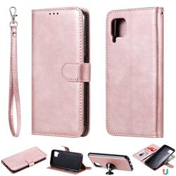 Retro Greek Detachable Magnetic PU Leather Wallet Phone Case for Huawei P40 Pro - Rose Gold
