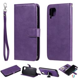 Retro Greek Detachable Magnetic PU Leather Wallet Phone Case for Huawei P40 Pro - Purple