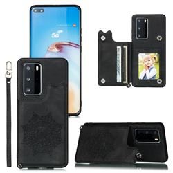 Luxury Mandala Multi-function Magnetic Card Slots Stand Leather Back Cover for Huawei P40 Pro - Black