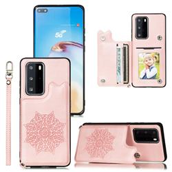 Luxury Mandala Multi-function Magnetic Card Slots Stand Leather Back Cover for Huawei P40 Pro - Rose Gold
