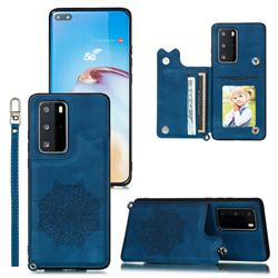 Luxury Mandala Multi-function Magnetic Card Slots Stand Leather Back Cover for Huawei P40 Pro - Blue