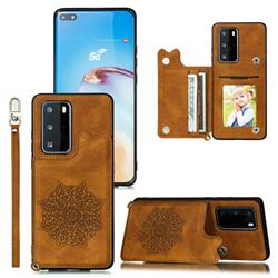 Luxury Mandala Multi-function Magnetic Card Slots Stand Leather Back Cover for Huawei P40 Pro - Brown