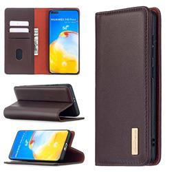 Binfen Color BF06 Luxury Classic Genuine Leather Detachable Magnet Holster Cover for Huawei P40 Pro - Dark Brown