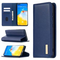 Binfen Color BF06 Luxury Classic Genuine Leather Detachable Magnet Holster Cover for Huawei P40 Pro - Blue