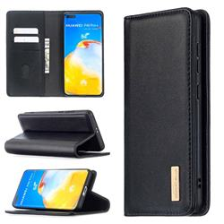 Binfen Color BF06 Luxury Classic Genuine Leather Detachable Magnet Holster Cover for Huawei P40 Pro - Black