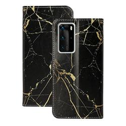 Black Gold Marble PU Leather Wallet Case for Huawei P40 Pro