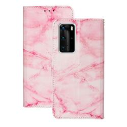 Pink Marble PU Leather Wallet Case for Huawei P40 Pro