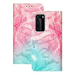 Pink Green Marble PU Leather Wallet Case for Huawei P40 Pro