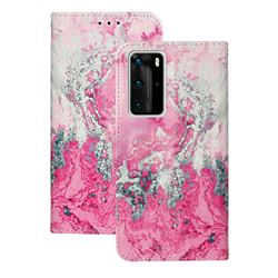 Pink Seawater PU Leather Wallet Case for Huawei P40 Pro