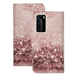 Glittering Rose Gold PU Leather Wallet Case for Huawei P40 Pro