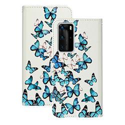 Blue Vivid Butterflies PU Leather Wallet Case for Huawei P40 Pro