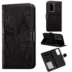 Intricate Embossing Vivid Butterfly Leather Wallet Case for Huawei P40 Pro - Black