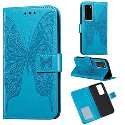 Intricate Embossing Vivid Butterfly Leather Wallet Case for Huawei P40 Pro - Blue