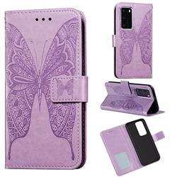 Intricate Embossing Vivid Butterfly Leather Wallet Case for Huawei P40 Pro - Purple