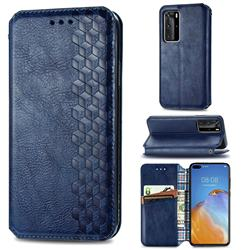 Ultra Slim Fashion Business Card Magnetic Automatic Suction Leather Flip Cover for Huawei P40 Pro - Dark Blue