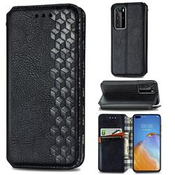 Ultra Slim Fashion Business Card Magnetic Automatic Suction Leather Flip Cover for Huawei P40 Pro - Black