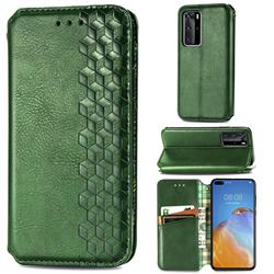 Ultra Slim Fashion Business Card Magnetic Automatic Suction Leather Flip Cover for Huawei P40 Pro - Green