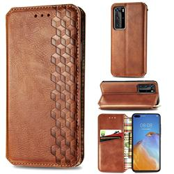 Ultra Slim Fashion Business Card Magnetic Automatic Suction Leather Flip Cover for Huawei P40 Pro - Brown