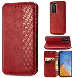 Ultra Slim Fashion Business Card Magnetic Automatic Suction Leather Flip Cover for Huawei P40 Pro - Red