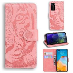 Intricate Embossing Tiger Face Leather Wallet Case for Huawei P40 Pro - Pink