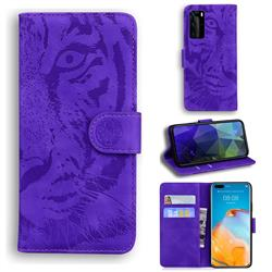 Intricate Embossing Tiger Face Leather Wallet Case for Huawei P40 Pro - Purple