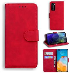 Retro Classic Skin Feel Leather Wallet Phone Case for Huawei P40 Pro - Red