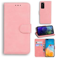 Retro Classic Skin Feel Leather Wallet Phone Case for Huawei P40 Pro - Pink