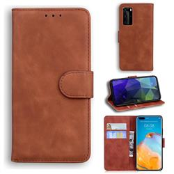 Retro Classic Skin Feel Leather Wallet Phone Case for Huawei P40 Pro - Brown