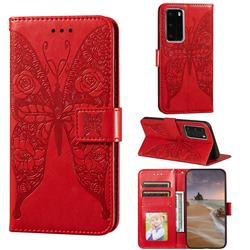Intricate Embossing Rose Flower Butterfly Leather Wallet Case for Huawei P40 Pro - Red