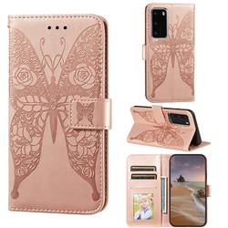 Intricate Embossing Rose Flower Butterfly Leather Wallet Case for Huawei P40 Pro - Rose Gold