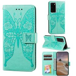 Intricate Embossing Rose Flower Butterfly Leather Wallet Case for Huawei P40 Pro - Green