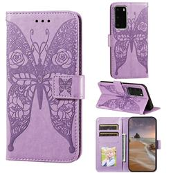 Intricate Embossing Rose Flower Butterfly Leather Wallet Case for Huawei P40 Pro - Purple