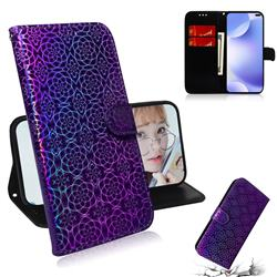 Laser Circle Shining Leather Wallet Phone Case for Huawei P40 Pro - Purple