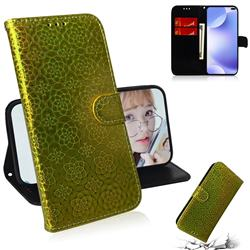 Laser Circle Shining Leather Wallet Phone Case for Huawei P40 Pro - Golden
