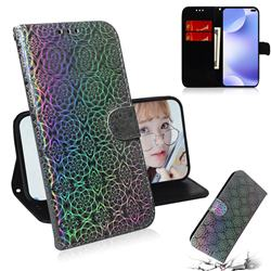 Laser Circle Shining Leather Wallet Phone Case for Huawei P40 Pro - Silver