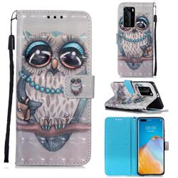Sweet Gray Owl 3D Painted Leather Wallet Case for Huawei P40 Pro