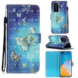 Gold Butterfly 3D Painted Leather Wallet Case for Huawei P40 Pro