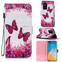 Rose Butterfly 3D Painted Leather Wallet Case for Huawei P40 Pro