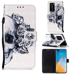 Skull Flower 3D Painted Leather Wallet Case for Huawei P40 Pro
