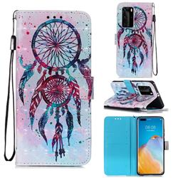 ColorDrops Wind Chimes 3D Painted Leather Wallet Case for Huawei P40 Pro