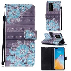Blue Flower 3D Painted Leather Wallet Case for Huawei P40 Pro