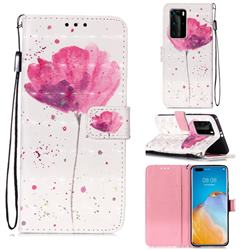 Watercolor 3D Painted Leather Wallet Case for Huawei P40 Pro