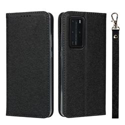 Ultra Slim Magnetic Automatic Suction Silk Lanyard Leather Flip Cover for Huawei P40 Pro - Black