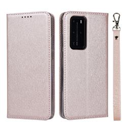 Ultra Slim Magnetic Automatic Suction Silk Lanyard Leather Flip Cover for Huawei P40 Pro - Rose Gold