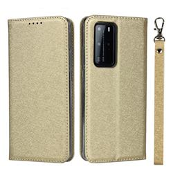 Ultra Slim Magnetic Automatic Suction Silk Lanyard Leather Flip Cover for Huawei P40 Pro - Golden