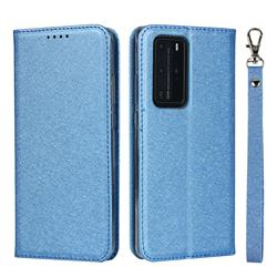 Ultra Slim Magnetic Automatic Suction Silk Lanyard Leather Flip Cover for Huawei P40 Pro - Sky Blue