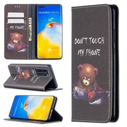 Chainsaw Bear Slim Magnetic Attraction Wallet Flip Cover for Huawei P40 Pro