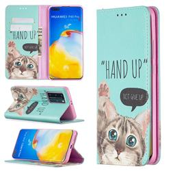 Hand Up Cat Slim Magnetic Attraction Wallet Flip Cover for Huawei P40 Pro
