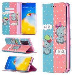 Elephant Boy and Girl Slim Magnetic Attraction Wallet Flip Cover for Huawei P40 Pro